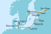Visitando Copenhague (Dinamarca), Warnemunde (Alemania), Gdynia (Polonia), Klaipeda (Lituania), Riga (Letonia), Tallin (Estonia), San Petersburgo (Rusia), San Petersburgo (Rusia), Helsinki (Finlandia), Estocolmo (Suecia), Copenhague (Dinamarca)