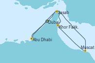 Visitando Dubai (Emiratos Árabes Unidos), Dubai (Emiratos Árabes Unidos), Jasab (Omán), Muscat (Omán), Khor Fakkan (Emiratos árabes Unidos), Abu Dhabi (Emiratos Árabes Unidos), Dubai (Emiratos Árabes Unidos)