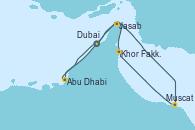 Visitando Dubai (Emiratos Árabes Unidos), Abu Dhabi (Emiratos Árabes Unidos), Muscat (Omán), Khor Fakkan (Emiratos árabes Unidos), Jasab (Omán), Dubai (Emiratos Árabes Unidos), Dubai (Emiratos Árabes Unidos)