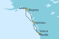 Visitando Seattle (Washington/EEUU), Ketchikan (Alaska), Juneau (Alaska), Skagway (Alaska), Victoria (Canadá), Seattle (Washington/EEUU)