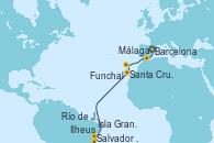 Visitando Barcelona, Málaga, Funchal (Madeira), Santa Cruz de Tenerife (España), Salvador de Bahía (Brasil), Ilheus (Brasil), Isla Grande (Brasil), Río de Janeiro (Brasil)