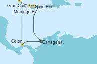 Visitando Cartagena de Indias (Colombia), Ocho Ríos (Jamaica), Montego Bay (Jamaica), Gran Caimán (Islas Caimán), Colón (Panamá), Cartagena de Indias (Colombia)