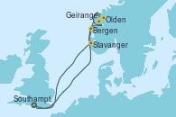 Visitando Southampton (Inglaterra), Bergen (Noruega), Olden (Noruega), Geiranger (Noruega), Stavanger (Noruega), Southampton (Inglaterra)
