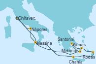 Visitando Civitavecchia (Roma), Messina (Sicilia), Santorini (Grecia), Atenas (Grecia), Mykonos (Grecia), Rodas (Grecia), Chania (Creta/Grecia), Nápoles (Italia), Civitavecchia (Roma)