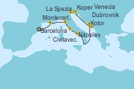 Visitando Barcelona, Montecarlo (Mónaco), La Spezia, Florencia y Pisa (Italia), Civitavecchia (Roma), Nápoles (Italia), Kotor (Montenegro), Dubrovnik (Croacia), Koper (Eslovenia), Venecia (Italia)