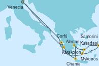 Visitando Venecia (Italia), Katakolon (Olimpia/Grecia), Santorini (Grecia), Kusadasi (Efeso/Turquía), Mykonos (Grecia), Atenas (Grecia), Chania (Creta/Grecia), Corfú (Grecia), Venecia (Italia)