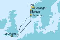 Visitando Southampton (Inglaterra), Bergen (Noruega), Geiranger (Noruega), Flam (Noruega), Stavanger (Noruega), Southampton (Inglaterra)
