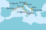 Visitando Venecia (Italia), Koper (Eslovenia), Dubrovnik (Croacia), Kotor (Montenegro), Nápoles (Italia), Civitavecchia (Roma), La Spezia, Florencia y Pisa (Italia), Toulon (Francia), Barcelona