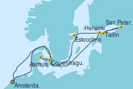 Visitando Ámsterdam (Holanda), Helsinki (Finlandia), San Petersburgo (Rusia), San Petersburgo (Rusia), Tallin (Estonia), Estocolmo (Suecia), Aarhus (Dinamarca), Copenhague (Dinamarca), Ámsterdam (Holanda)