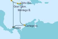 Visitando Colón (Panamá), Cartagena de Indias (Colombia), Ocho Ríos (Jamaica), Montego Bay (Jamaica), Gran Caimán (Islas Caimán), Colón (Panamá)
