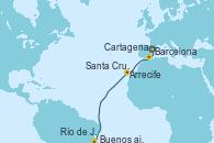 Visitando Barcelona, Cartagena (Murcia), Arrecife (Lanzarote/España), Santa Cruz de Tenerife (España), Río de Janeiro (Brasil), Buenos aires, Buenos aires