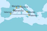 Visitando Barcelona, Marsella (Francia), Savona (Italia), Nápoles (Italia), Palermo (Italia), Valencia, Barcelona
