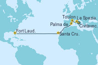 Visitando Civitavecchia (Roma), La Spezia, Florencia y Pisa (Italia), Toulon (Francia), Palma de Mallorca (España), Santa Cruz de Tenerife (España), Fort Lauderdale (Florida/EEUU)