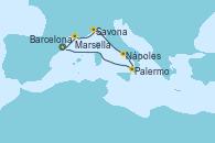 Visitando Barcelona, Marsella (Francia), Savona (Italia), Nápoles (Italia), Palermo (Italia), Barcelona