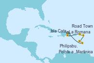 Visitando La Romana (República Dominicana), La Romana (República Dominicana), Isla Catalina (República Dominicana), Road Town (Isla Tórtola/Islas Vírgenes), Philipsburg (St. Maarten), Martinica (Antillas), Pointe a Pitre (Guadalupe), La Romana (República Dominicana)