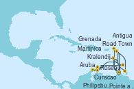 Visitando Pointe a Pitre (Guadalupe), Road Town (Isla Tórtola/Islas Vírgenes), Philipsburg (St. Maarten), Antigua (Antillas), Roseau (Dominica), Martinica (Antillas), Pointe a Pitre (Guadalupe), Curacao (Antillas), Aruba (Antillas), Kralendijk (Antillas), Grenada (Antillas), Martinica (Antillas), Pointe a Pitre (Guadalupe)