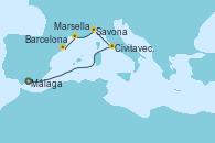 Visitando Málaga, Civitavecchia (Roma), Savona (Italia), Marsella (Francia), Barcelona