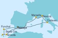 Visitando Málaga, Civitavecchia (Roma), Savona (Italia), Marsella (Francia), Arrecife (Lanzarote/España), Santa Cruz de Tenerife (España), Funchal (Madeira), Málaga