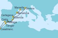 Visitando Málaga, Cartagena (Murcia), Valencia, Savona (Italia), Marsella (Francia), Barcelona, Cádiz (España), Casablanca (Marruecos), Tánger (Marruecos), Málaga