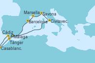 Visitando Málaga, Civitavecchia (Roma), Savona (Italia), Marsella (Francia), Barcelona, Cádiz (España), Casablanca (Marruecos), Tánger (Marruecos), Málaga