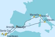 Visitando Málaga, Civitavecchia (Roma), Savona (Italia), Marsella (Francia), Fuerteventura (Canarias/España), Santa Cruz de Tenerife (España), Arrecife (Lanzarote/España), Málaga