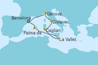 Visitando Barcelona, Palma de Mallorca (España), La Valletta (Malta), Cagliari (Cerdeña), Civitavecchia (Roma), Génova (Italia), Barcelona