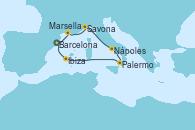 Visitando Barcelona, Marsella (Francia), Savona (Italia), Nápoles (Italia), Palermo (Italia), Ibiza (España), Barcelona