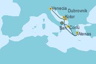 Visitando Bari (Italia), Corfú (Grecia), Atenas (Grecia), Kotor (Montenegro), Dubrovnik (Croacia), Venecia (Italia)