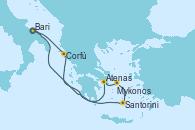 Visitando Bari (Italia), Corfú (Grecia), Atenas (Grecia), Mykonos (Grecia), Santorini (Grecia), Bari (Italia)