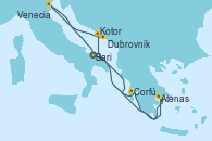 Visitando Bari (Italia), Corfú (Grecia), Atenas (Grecia), Kotor (Montenegro), Dubrovnik (Croacia), Venecia (Italia), Bari (Italia)