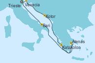 Visitando Venecia (Italia), Trieste (Italia), Kotor (Montenegro), Katakolon (Olimpia/Grecia), Atenas (Grecia), Bari (Italia), Venecia (Italia)