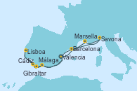 Visitando Valencia, Barcelona, Savona (Italia), Marsella (Francia), Málaga, Cádiz (España), Lisboa (Portugal), Gibraltar (Inglaterra), Valencia