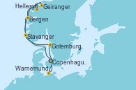 Visitando Copenhague (Dinamarca), Hellesylt (Noruega), Geiranger (Noruega), Bergen (Noruega), Stavanger (Noruega), Gotemburgo (Suecia), Warnemunde (Alemania), Copenhague (Dinamarca)
