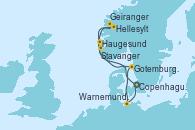 Visitando Copenhague (Dinamarca), Hellesylt (Noruega), Geiranger (Noruega), Haugesund (Noruega), Stavanger (Noruega), Gotemburgo (Suecia), Warnemunde (Alemania), Copenhague (Dinamarca)