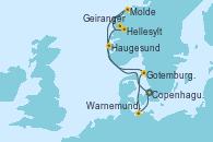 Visitando Copenhague (Dinamarca), Hellesylt (Noruega), Geiranger (Noruega), Molde (Noruega), Haugesund (Noruega), Gotemburgo (Suecia), Warnemunde (Alemania), Copenhague (Dinamarca)