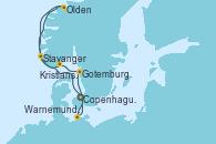 Visitando Copenhague (Dinamarca), Olden (Noruega), Stavanger (Noruega), Kristiansand (Noruega), Gotemburgo (Suecia), Warnemunde (Alemania), Copenhague (Dinamarca)