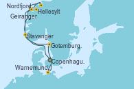 Visitando Copenhague (Dinamarca), Hellesylt (Noruega), Geiranger (Noruega), Nordfjordeid, Stavanger (Noruega), Gotemburgo (Suecia), Warnemunde (Alemania), Copenhague (Dinamarca)