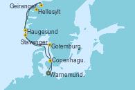 Visitando Warnemunde (Alemania), Copenhague (Dinamarca), Hellesylt (Noruega), Geiranger (Noruega), Haugesund (Noruega), Stavanger (Noruega), Gotemburgo (Suecia), Warnemunde (Alemania)