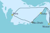 Visitando Abu Dhabi (Emiratos Árabes Unidos), Dubai (Emiratos Árabes Unidos), Dubai (Emiratos Árabes Unidos), Muscat (Omán), Doha (Catar), Abu Dhabi (Emiratos Árabes Unidos), Abu Dhabi (Emiratos Árabes Unidos)