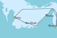 Visitando Dubai (Emiratos Árabes Unidos), Dubai (Emiratos Árabes Unidos), Muscat (Omán), Doha (Catar), Abu Dhabi (Emiratos Árabes Unidos), Abu Dhabi (Emiratos Árabes Unidos), Dubai (Emiratos Árabes Unidos)
