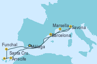 Visitando Málaga, Barcelona, Savona (Italia), Marsella (Francia), Arrecife (Lanzarote/España), Santa Cruz de Tenerife (España), Funchal (Madeira), Málaga