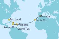 Visitando Málaga, Santa Cruz de Tenerife (España), Philipsburg (St. Maarten), Amber Cove (República Dominicana), Grand Turks(Turks & Caicos), Fort Lauderdale (Florida/EEUU)