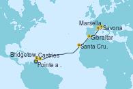 Visitando Pointe a Pitre (Guadalupe), Castries (Santa Lucía/Caribe), Bridgetown (Barbados), Santa Cruz de Tenerife (España), Gibraltar (Inglaterra), Marsella (Francia), Savona (Italia)