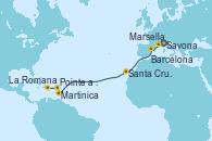 Visitando Savona (Italia), Marsella (Francia), Barcelona, Santa Cruz de Tenerife (España), Martinica (Antillas), Pointe a Pitre (Guadalupe), La Romana (República Dominicana)