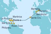 Visitando Savona (Italia), Marsella (Francia), Barcelona, Santa Cruz de Tenerife (España), Martinica (Antillas), Pointe a Pitre (Guadalupe), La Romana (República Dominicana), La Romana (República Dominicana), Isla Catalina (República Dominicana), Road Town (Isla Tórtola/Islas Vírgenes), Philipsburg (St. Maarten), Martinica (Antillas), Pointe a Pitre (Guadalupe)