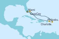 Visitando Miami (Florida/EEUU), Philipsburg (St. Maarten), Charlotte Amalie (St. Thomas), CocoCay (Bahamas), Miami (Florida/EEUU)