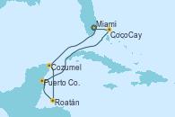 Visitando Miami (Florida/EEUU), Cozumel (México), Roatán (Honduras), Puerto Costa Maya (México), CocoCay (Bahamas), Miami (Florida/EEUU)