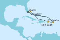 Visitando Miami (Florida/EEUU), Philipsburg (St. Maarten), San Juan (Puerto Rico), CocoCay (Bahamas), Miami (Florida/EEUU)