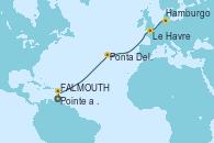 Visitando Pointe a Pitre (Guadalupe), St. John's (Antigua), Ponta Delgada (Azores), Ponta Delgada (Azores), Le Havre (Francia), Hamburgo (Alemania)
