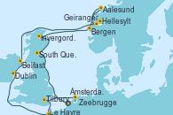 Visitando Ámsterdam (Holanda), South Queensferry (Escocia), Invergordon (Escocia), Bergen (Noruega), Aalesund (Noruega), Geiranger (Noruega), Hellesylt (Noruega), Belfast (Irlanda), Dublin (Irlanda), Le Havre (Francia), Tilbury (Gran Bretaña), Zeebrugge (Bruselas), Ámsterdam (Holanda)
